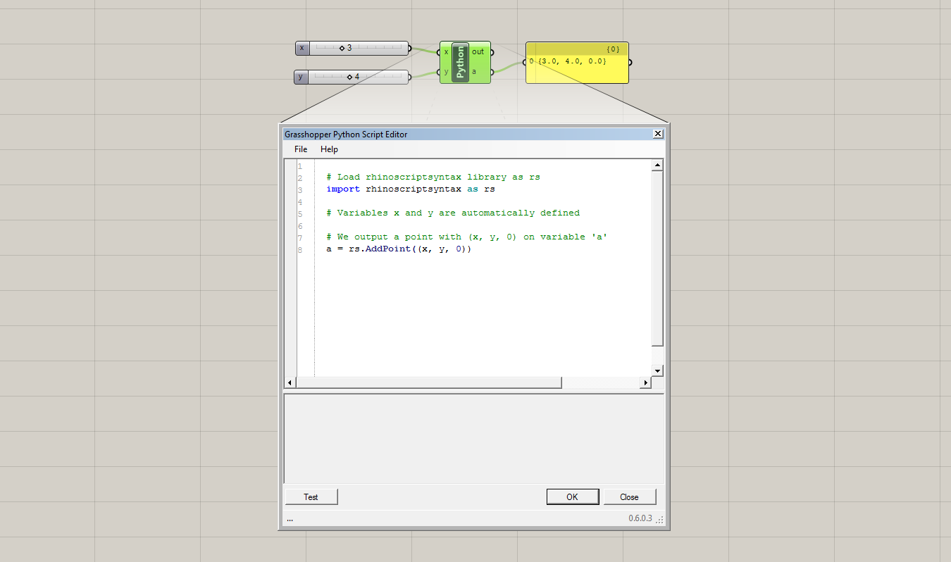 Python scripting code to generate a Point in Grasshopper